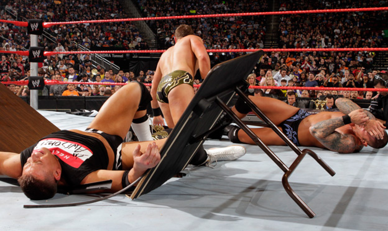 WWE Championship Tables Match Randy Orton vs. The Miz